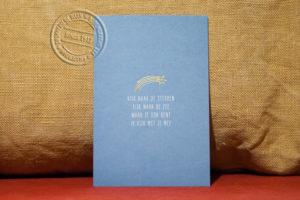 Oudhollands kaartje in blauw en goudfolie