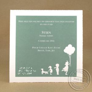 geboortekaartje met silhouetten, diapositief
