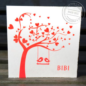 geboortekaartje met boom en vogeltjes